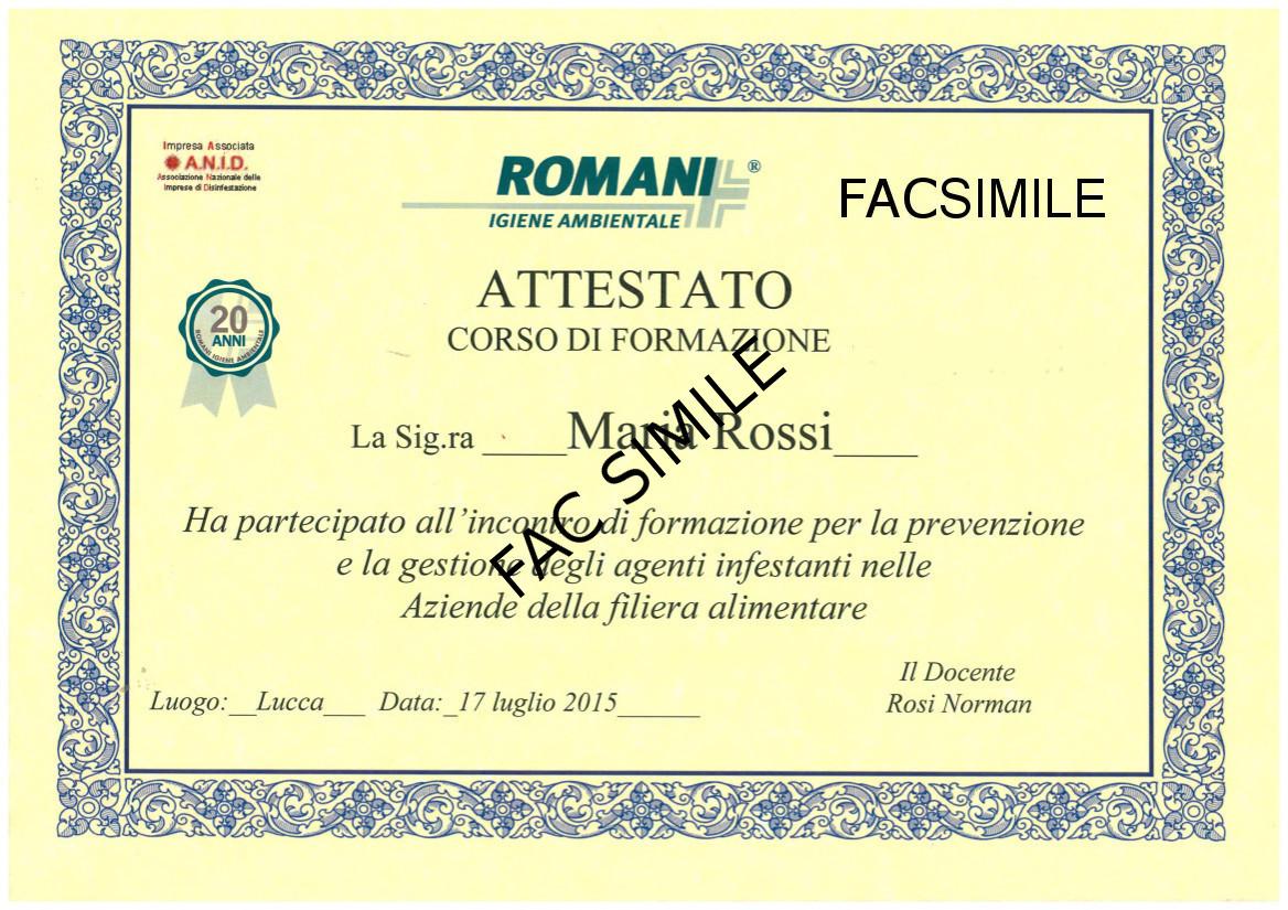 Attestato Romani Disinfestazioni
